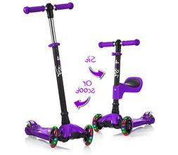 Lascoota 2-in-1 Kick Scooter with Removable Seat Great for K