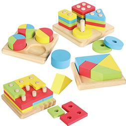 Joyin Toy 4 in 1 Wooden Educational Shape Color Sorting Puzz
