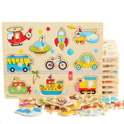 3D Wooden jigsaw puzzle for toddler children kid hand grasp