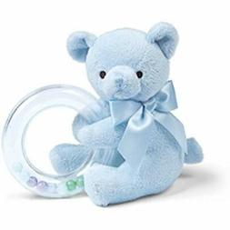 Bearington Baby Polky Blue Plush Stuffed Animal Teddy Shaker