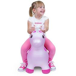 WADDLE Favorite Pink Unicorn Toy Space Hopper Ride On Large