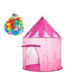 Girls Princess Pink Play Tent, Castle Pop Up Playhouse Toy f
