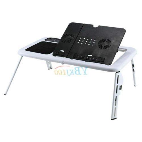 Adjustable Desk Table Foldable Bed Tray with 2 Fans