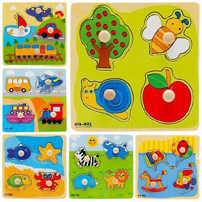 Baby Toddler Fruit Cars Cognize Brick Puzzle