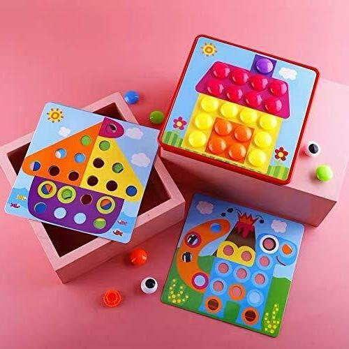 Button Art Color Matching Board Educational Toddler