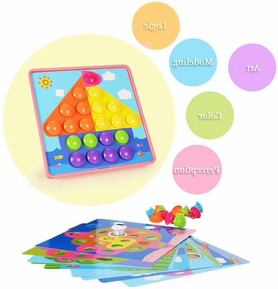 Button Art Toddler Color Matching Peg Board Educational Toy,