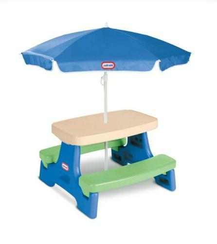 Little Store Jr. Play Table Umbrella Summer Kids Bench Picnic