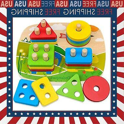 Educational Toddler Toys Wooden Shape Color Recognition Pres