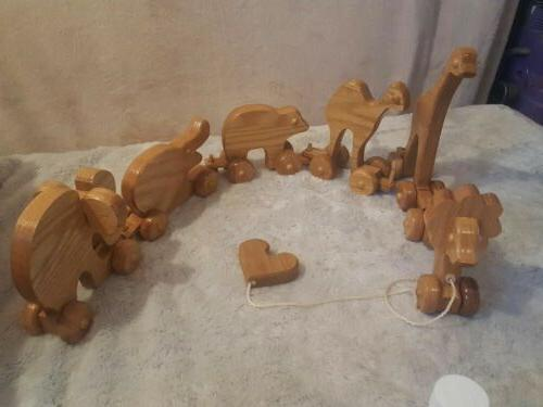elephant wooden toy for toddler toy pull