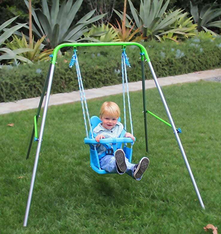Toddler Swing With Safety Harness For Indoor And Outdoor Pla
