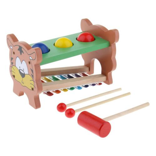 Toddler Wooden Ball Hammer Knock Piano Set Educational Toy P