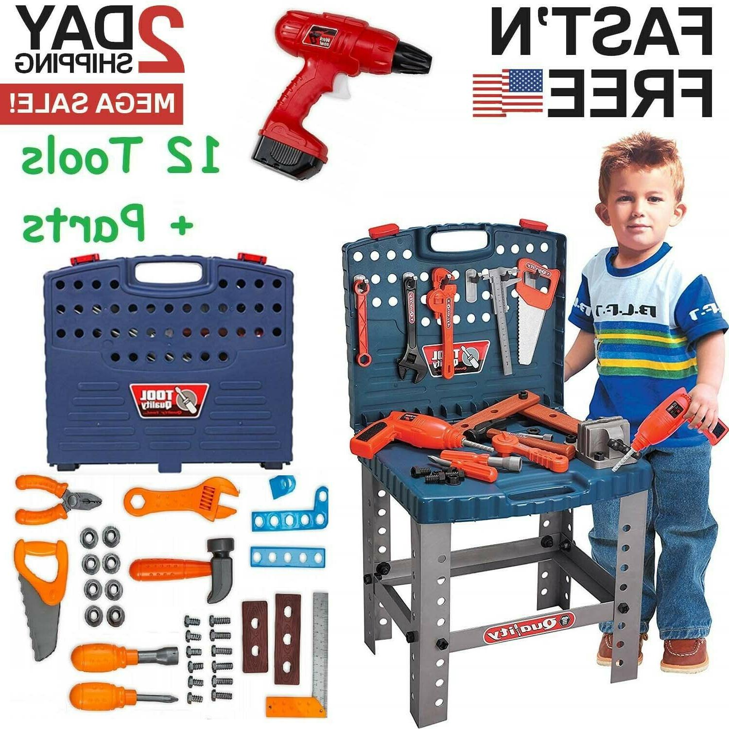 Toddler Workbench Tool Toy Play Pretend Kid Learning Game