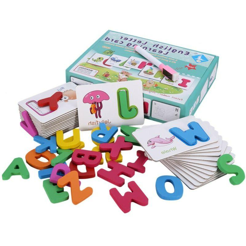 Toddlers Toys Wooden Letters Puzzles Card