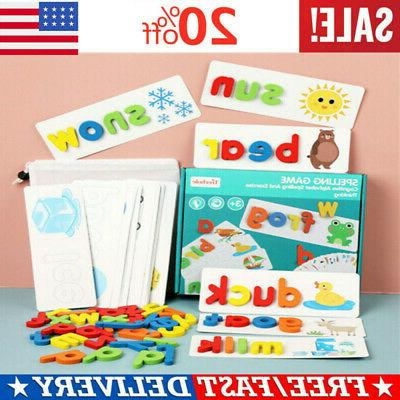 toddlers preschool learning toys wooden animal alphabet