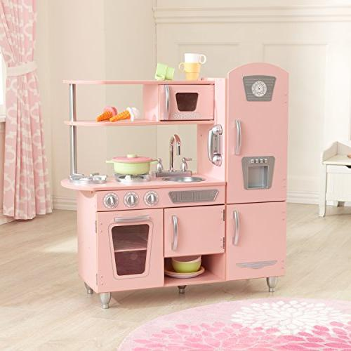 KidKraft Wooden Kitchen in Pink Microwave and oven doors and close