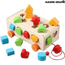 DalosDream Large Wooden Shape Sorter Bus for Toddlers and Ba