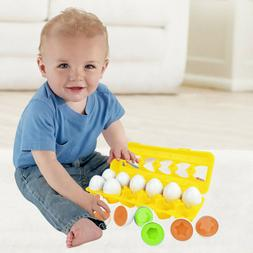 Matching Puzzle 12 Eggs Toddler Toys Color and Shape Recogni