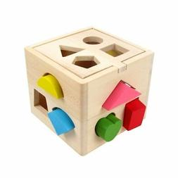 Montessori Educational Wooden Shape-Sorter Cube Pre-Kinderga