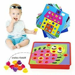 Peg Board Games for Kids Toddler Activities Crafts Button Ar