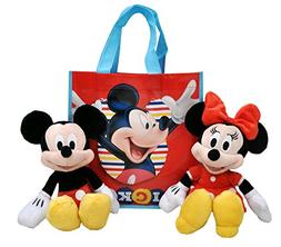 """Disney 11"""" Plush Mickey & Minnie Mouse 2-Pack in Tote Bag"""