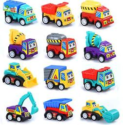 M-jump Pull Back Vehicles , 12 Pack Assorted Construction Ve