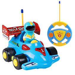 Cartoon RC Race Car with Music and Lights Electric Radio Con