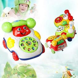 Bluelans Baby Telephone Toys Toddler Pull Along Toy Phone wi