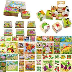 Toddler Kids Wooden Cartoon Animal Puzzle Jigsaw Blocks Earl