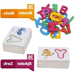 toddlers preschool learning toys wooden abc animal