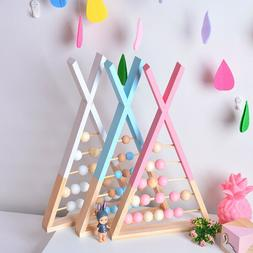 Toddlers Triangle Wood Abacus Round Beads Counting Developme