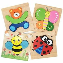 Tunery Wooden Animal Jigsaw Puzzles Toddlers Toys 1 2 3 Year