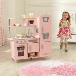 KidKraft Vintage Wooden Play Kitchen in Pink Microwave and o