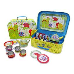 Wiggly Bug Tin Tea Set & Carry Case Toy  Green, Blue, Yellow