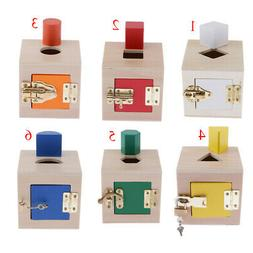 Wooden Childrens Color Recognition Shape Sorting Cube Lid fo