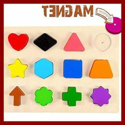 Wooden Educational Magnetic Shape Puzzle Learn Colors & Reco