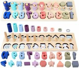Wooden Number Puzzles Sorting Counting Toys for Toddlers - S