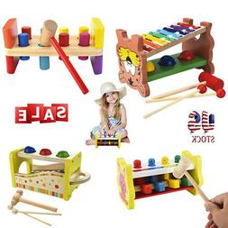 wooden pounding bench hammering toys with mallet