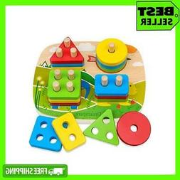 Wooden Shape Color Recognition Educational Toddler Toys For
