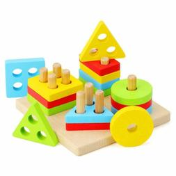 Wooden Sorting & Stacking Toys for Toddlers Educational Shap